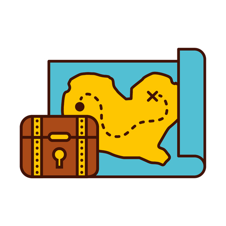 treasure chest game with map vector illustration design Illustration