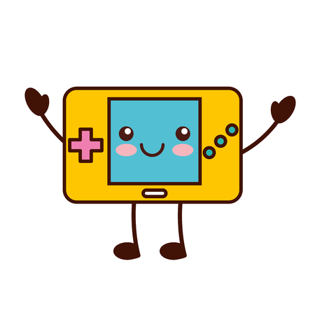 portable console: Portable video game console character vector illustration design Illustration