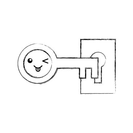 antique key character vector illustration design