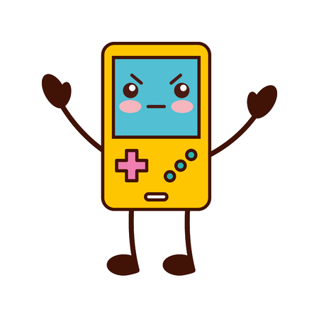 Portable video game console kawaii character vector illustration design