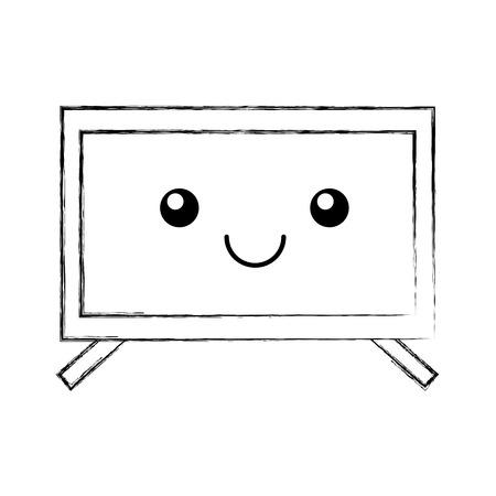 plasma tv kawaii character vector illustration design