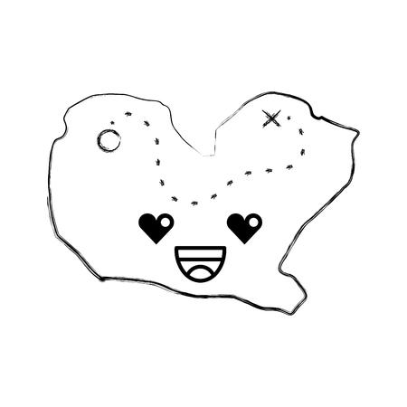 treasure map game kawaii character vector illustration design