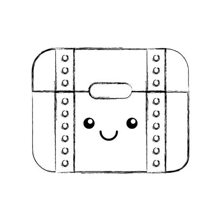 Cofre Del Tesoro Juego Kawaii Personaje Vector Ilustracion Diseno