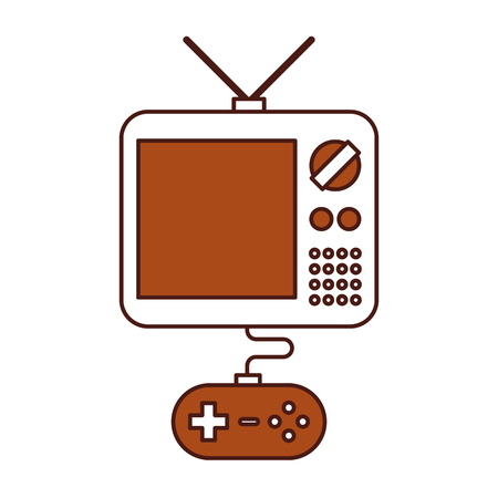gamepad: tv with video game control icon vector illustration design