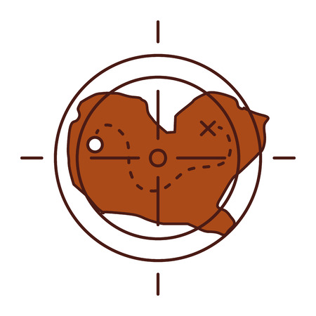 treasure map with target icon vector illustration design Ilustração