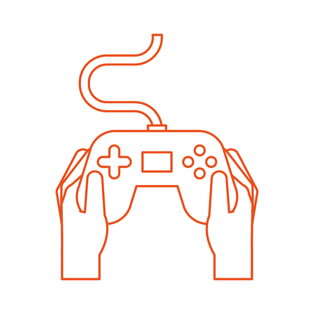 hands with video game control icon vector illustration design