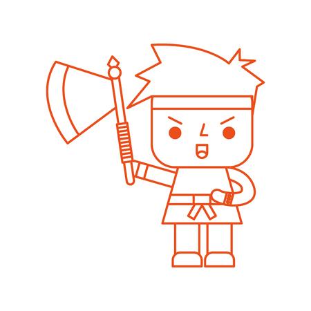 도끼 벡터 일러스트 레이션 디자인과 비디오 게임 전사의 아바타