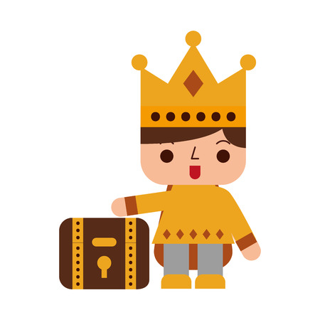Video game prince with treasure chest avatar vector illustration design Illusztráció