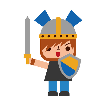 Avatar of a video game warrior with sword vector illustration design