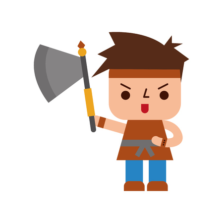 Avatar of a video game warrior with ax vector illustration design Stok Fotoğraf - 82229710
