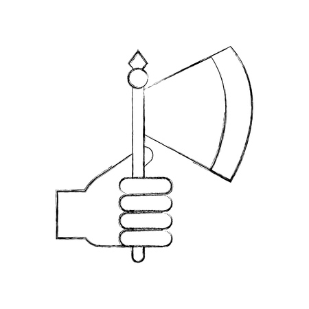 hand with ax weapon warrior game vector illustration design