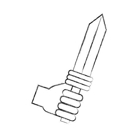 hand with sword weapon warrior game vector illustration design
