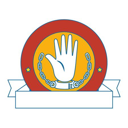 Lokalisierte Hand mit Kettenfahnenikonenvektor-Illustrationsgrafikdesign Standard-Bild - 82262051