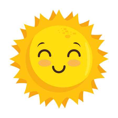 isolated yellow kawaii sun face icon vector illustration graphic design