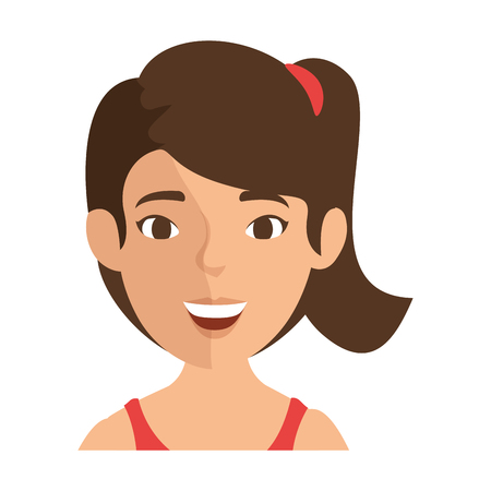 female face closeup: isolated cute women face icon vector illustration graphic design