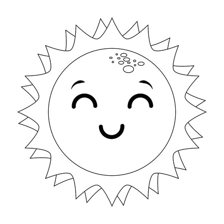 isolated kawaii sun face icon vector illustration graphic design