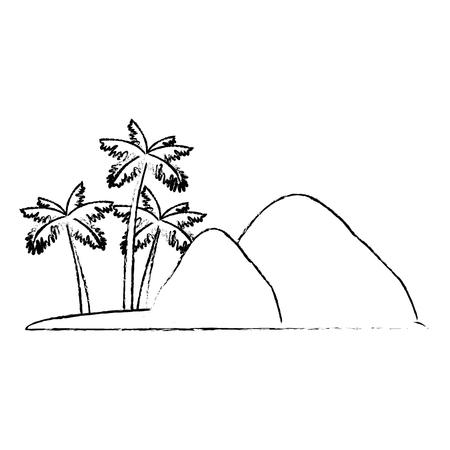 isolated island landscape icon vector illustration graphic design