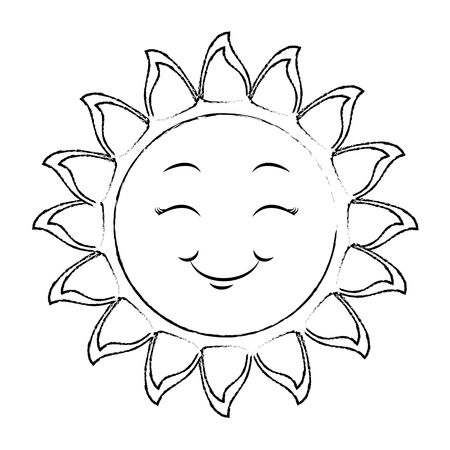 isolated yellow sun face icon vector illustration graphic design 向量圖像