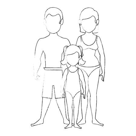 beach sunset: isolated cute beach family icon vector illustration graphic design Illustration