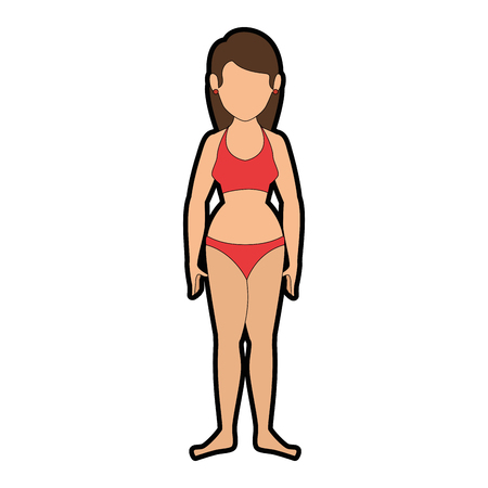 isolated cute standing women icon vector illustration graphic design