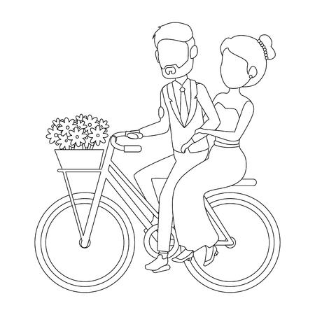 Isolted 新婚カップル自転車アイコン ベクトル イラスト グラフィック デザイン 写真素材 - 82262310