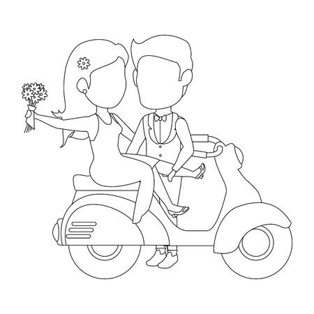 孤立した新婚カップル バイク アイコン ベクトル イラスト グラフィック デザイン