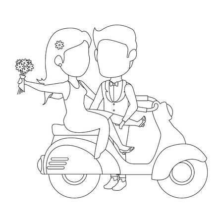 isolated newlywed couple motorcycle icon vector illustration graphic design Иллюстрация