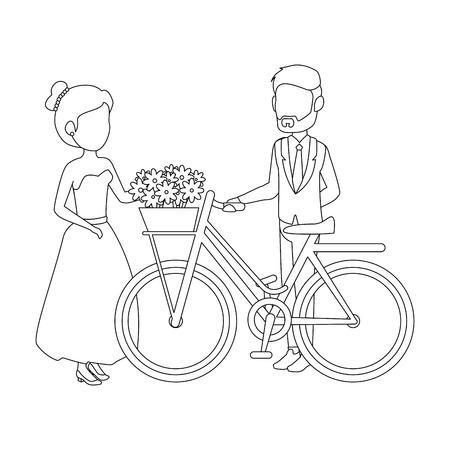 isolted 新婚カップル自転車アイコン ベクトル イラスト グラフィック デザイン