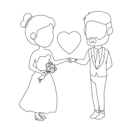 孤立したかわいい新婚カップルのアイコン ベクトル イラスト グラフィック デザイン