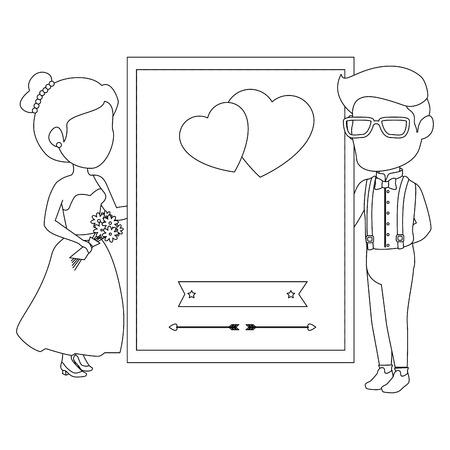 孤立した新婚カップル愛壁アイコン ベクトル イラスト グラフィック デザイン