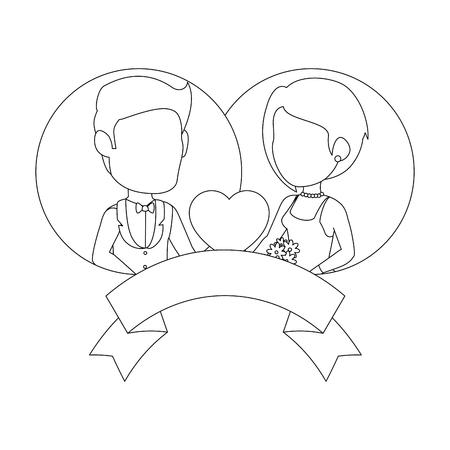 孤立した新婚カップルのバナー アイコン ベクトル イラスト グラフィック デザイン  イラスト・ベクター素材