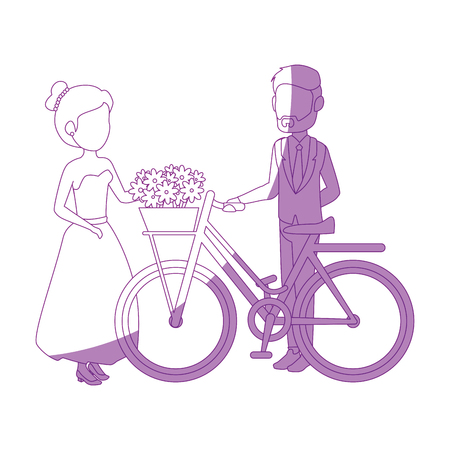 isolted newlywed couple bicycle icon vector illustration graphic design