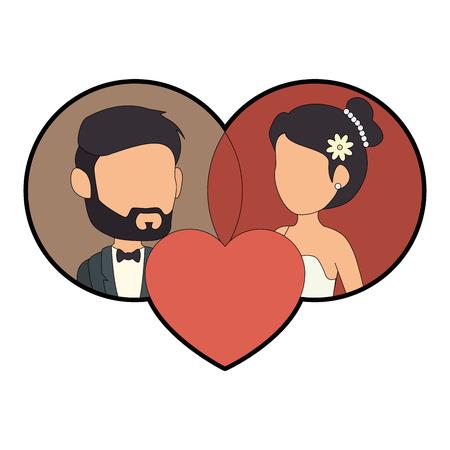 孤立した新婚カップルのバナー アイコン ベクトル イラスト グラフィック デザイン 写真素材 - 82262457