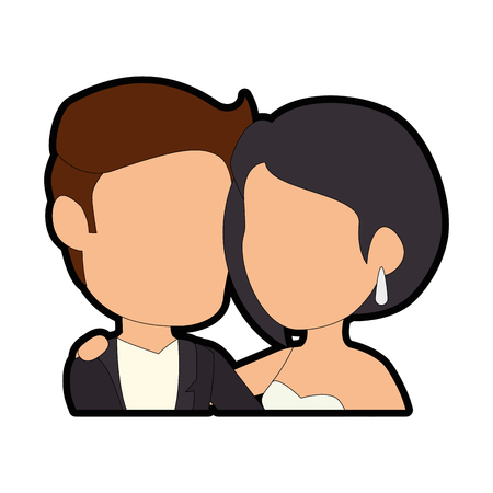 isolated cute upperbody wife and husband icon vector illustration graphic design