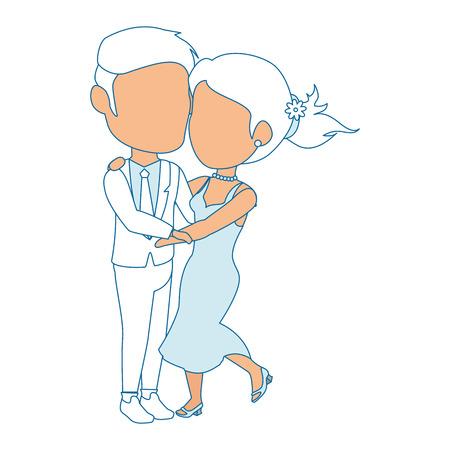 孤立した新婚カップルのダンス アイコン ベクトル イラスト グラフィック デザイン