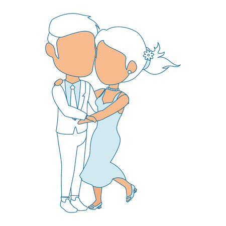 isolated newlywed couple dancing icon vector illustration graphic design