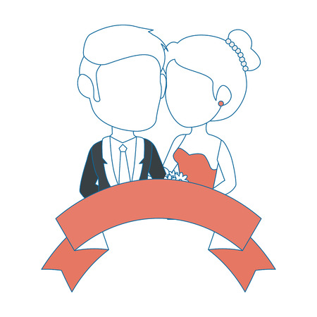 isolated newlywed couple banner icon vector illustration graphic design Иллюстрация