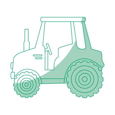 Diseño gráfico aislado del ejemplo del vector del icono del tractor del escudo. Foto de archivo - 82263139