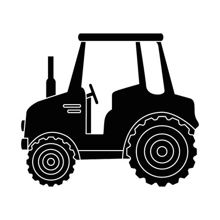 plow: isolted cute shield tractor icon vector illustration graphic design