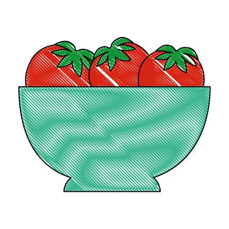 격리 된 토마토 그릇 아이콘 벡터 일러스트 그래픽 디자인