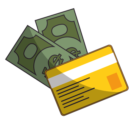 isolated bills and credit card icon vector illustration graphic design