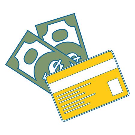 격리 된 청구서 및 신용 카드 아이콘 벡터 일러스트 그래픽 디자인