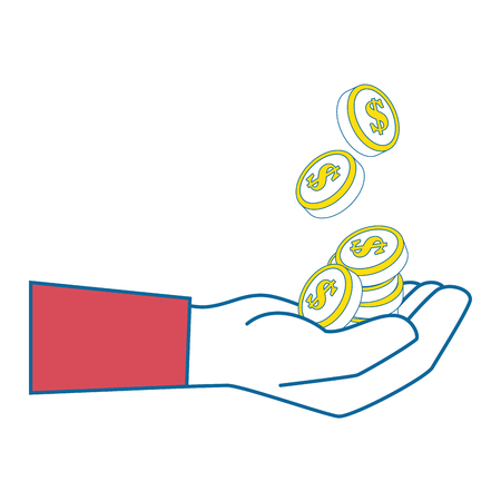 Isolated coins hand icon vector illustration graphic design.