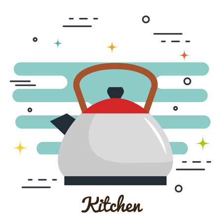 Tea pot and kitchen sign over white background vector illustration