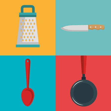 Kitchen utensils design over colorful background vector illustration Çizim