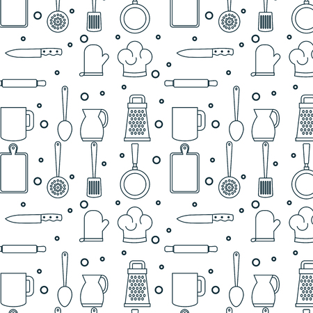 Hand drawn kitchenware pattern over white background vector illustraiton