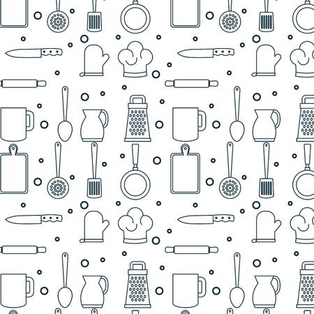 Hand gezeichnetes Küchengeschirrmuster über weißem Hintergrundvektor illustraiton Standard-Bild - 82320250