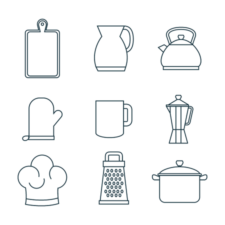 illustraiton: Hand drawn kitchenware set over white background vector illustraiton