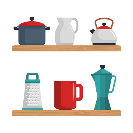 Colorful kitchenware set over white background vector illustration Stock fotó - 82320267