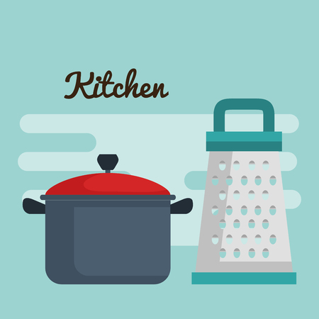 colorful pot and grater over blue background vector illustration Stock Illustratie